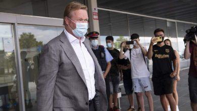 صورة كومان ووكيله في إجتماع مع إدارة برشلونة لوضع خطة الإنقاذ
